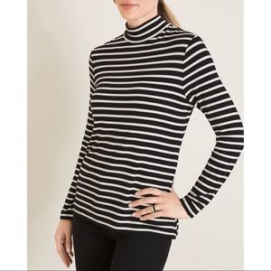 Chico's STRIPED MOCK-NECK ZIP-BACK TOP - Size 2